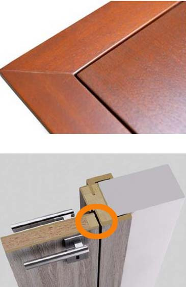 Bezfalcové dveře detail