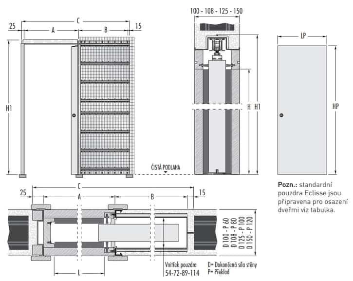 1 křídlo ZDIVO technický nákres 725