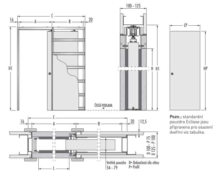 technický nákres 1 křídlo SDK 725