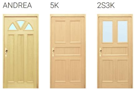 Vstupní dřevěné dveře Andrea, 5K, 2S3K