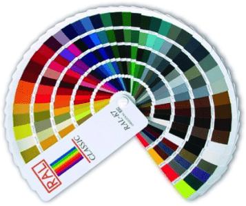 stupnice barev RAL vzorník barevný nástřik plechvé dveře